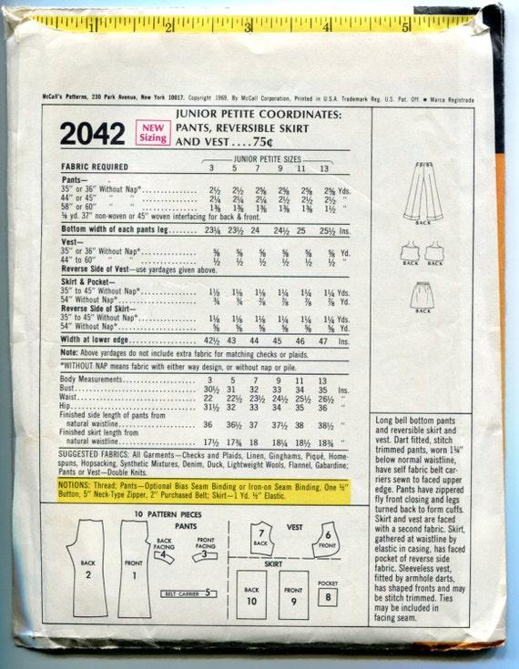 pantalones de la década de 1960 la falda Reversible de patrón   Etsy