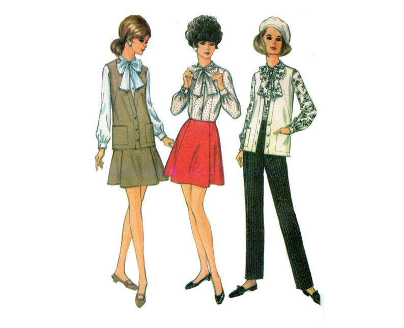 96a5afb548 1960s Pants Skirt and Blouse Pattern Tie Collar Blouse Long   Etsy