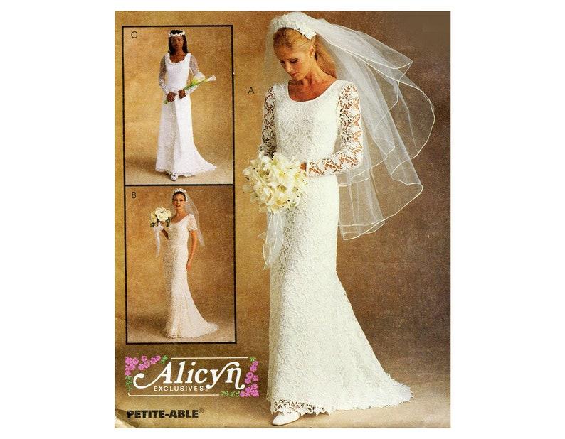 Lace Wedding Dress Pattern Slim Line Small Train Scoop Neck Long Or Short Sleeve Mccalls 9133 Alicyn Vintage Sewing Pattern Bust 40 Plus Sz
