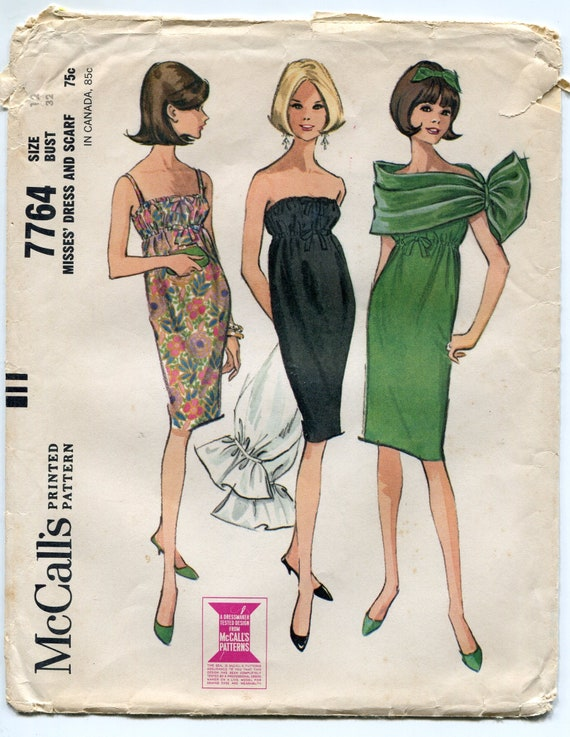 1960s Cocktail Dress and Wrap Pattern