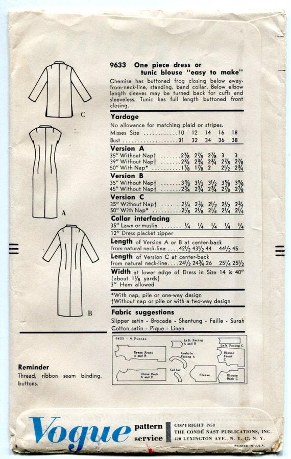 década de 1950 vestido o túnica patrón equipados camisa estilo | Etsy