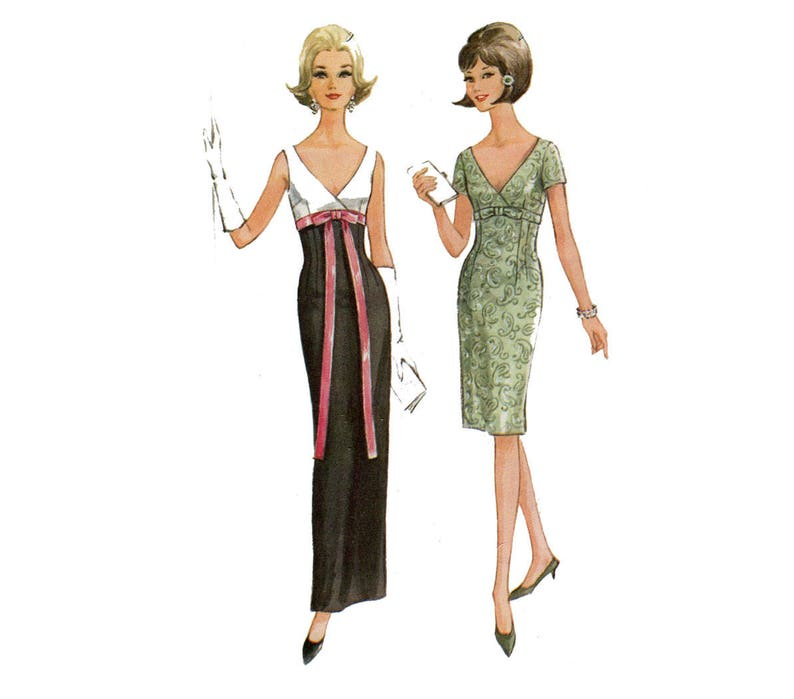 181fc86cfdef 1960s Evening Dress Pattern Cocktail Dress V Neck Empire Waist | Etsy
