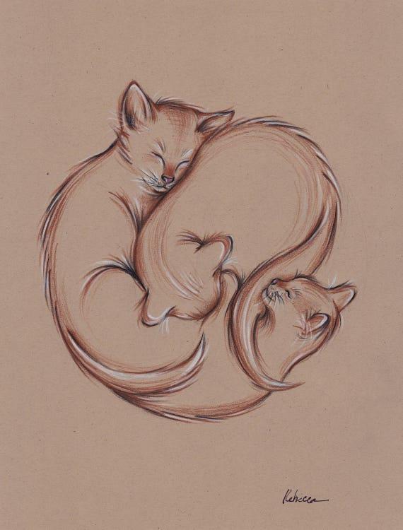 Rodear Original Lápiz Prisma Tres Gatos Durmiendo Dibujo De Etsy