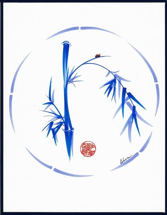 Original Enso Zen Painting Throw Pillows: LADYBUG BLISS Original Enso Ink Brush Bamboo Zen Painting