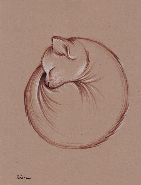 Original Enso Zen Painting Throw Pillows: Slumber Original Enso Zen Cat Drawing By Rebecca Rees