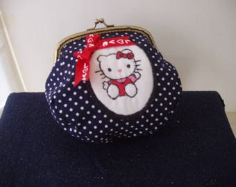 Coin Purse Cotton Metal Frame Pouch Purse Kitty Small Cute Handmade Polka Dots