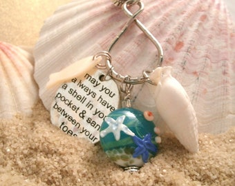 Handmade lamp work glass beach sea necklace with May you always have a shell in your pocket and sand between your toes charm and real shell