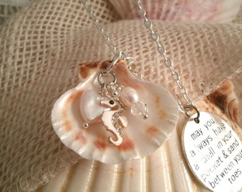 Rhinestone Enamel Sea horse in shell with pearl heart and pearl with may you have a shell in your pocket and sand between your toes charm