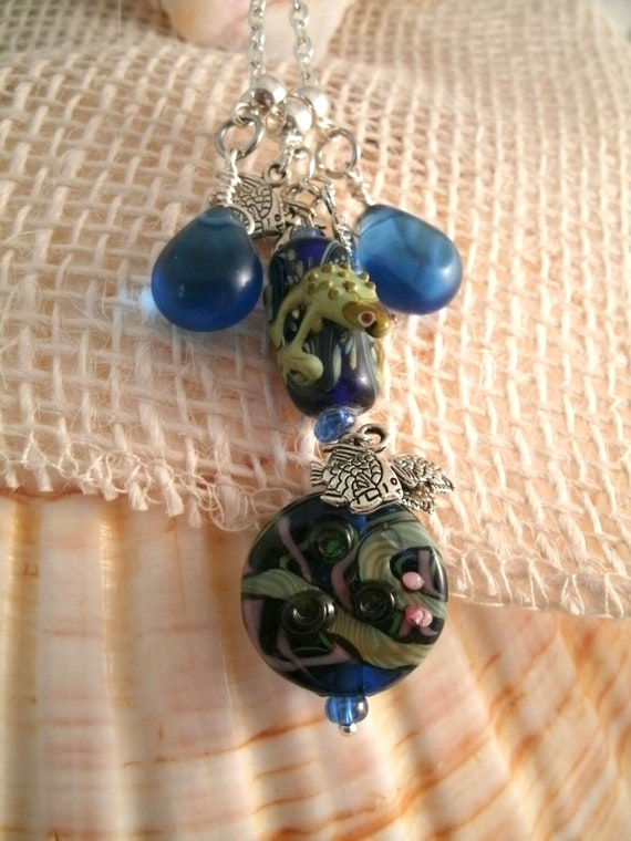 6 FROG /& LILY PAD Lampwork Glass Beads NEW