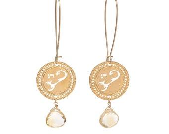Scorpio Zodiac Earrings, Zodiac Long Gold Earrings, Citrine Birthstone Earrings, Horoscope Jewelry, Hebrew Earrings, Jewish Jewelry