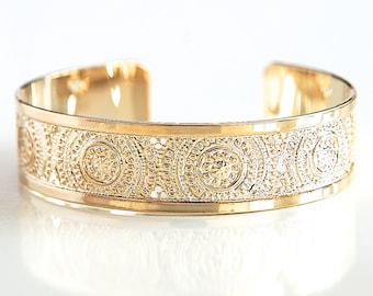 Mandala Gold Bracelet, Gold Cuff Bracelet, Women's Cuff Bracelet, Fashion Jewelry, Handmade Cuff Bracelet, Boho Gold Brass Bracelet