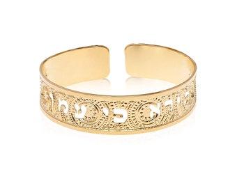 Isaiah 41:10 Gold Cuff, Bible Scripture Bracelet, Women's Gold Cuff Bracelet, Prayer Jewelry, Jewish Cuff, Jewish Jewelry