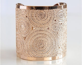 Rose Gold Cuff Bracelet, Women's Cuff Bracelet, Handmade Rose Gold Bracelet, Statement Rose Gold Cuff, Boho Rose Gold Brass Bracelet