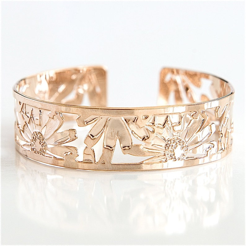 Rose Gold cuff Floral Bracelet Daisy Design Cuff Bracelet image 0