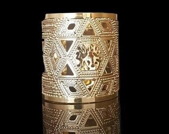 Shema Israel Gold Bracelet, Shma Gold Cuff, Prayer Jewelry, Jewish Cuff, Jewish Jewelry, Statement Gold Cuff, Boho Gold Brass Bracelet