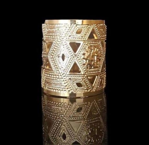 Boho Gold Brass Bracelet Shma Gold Cuff Jewish Cuff Statement Gold Cuff Jewish Jewelry Prayer Jewelry Shema Israel Gold Bracelet
