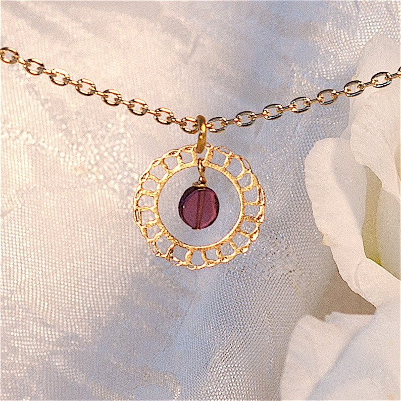 Lacy Gold Delicate necklace with Garnet Minimal necklace image 0