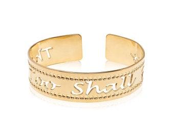 This Too Shall Pass Gold Bracelet, Inspirational Cuff, Affirmation Jewelry, Women's Cuff Bracelet, Handmade Cuff, Boho Gold Brass Bracelet