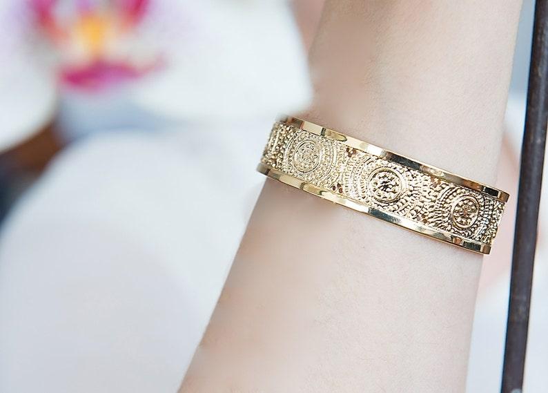 Gold Cuff bracelet Mandala jewelry Gold jewelry Modern image 0