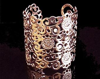 Spiral Flower Cuff Bracelet For Women, Wide Cuff Bracelet, Bridal Jewelry, Statement Rose Gold Cuff, Boho Rose Gold Brass Bracelet