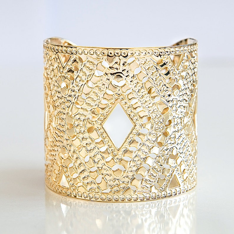 Gold cuff gold bangle gold jewelry gold bracelet cuff image 0