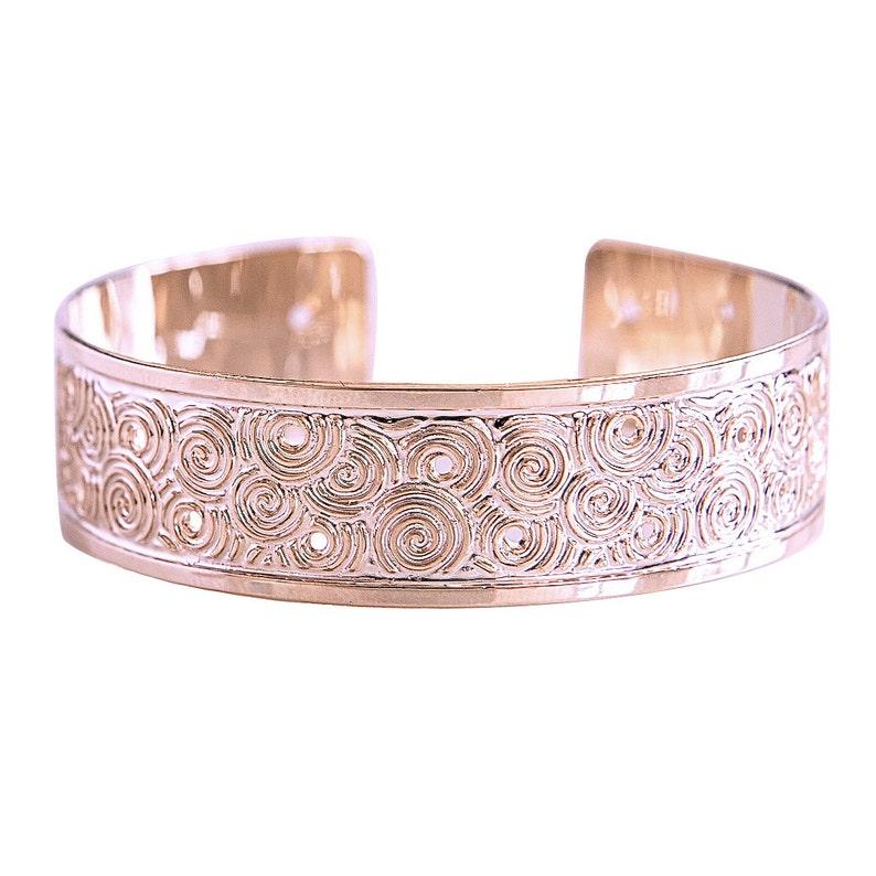 Rose gold bracelet cuff rose gold bangle spirals bracelet image 0
