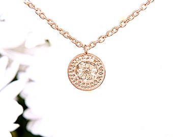 Rose Gold Flower Necklace, Flower Disc Necklace, Necklace For Women, Elegant Necklace, Wedding Jewelry, Fashion Jewelry, Modern Jewelry