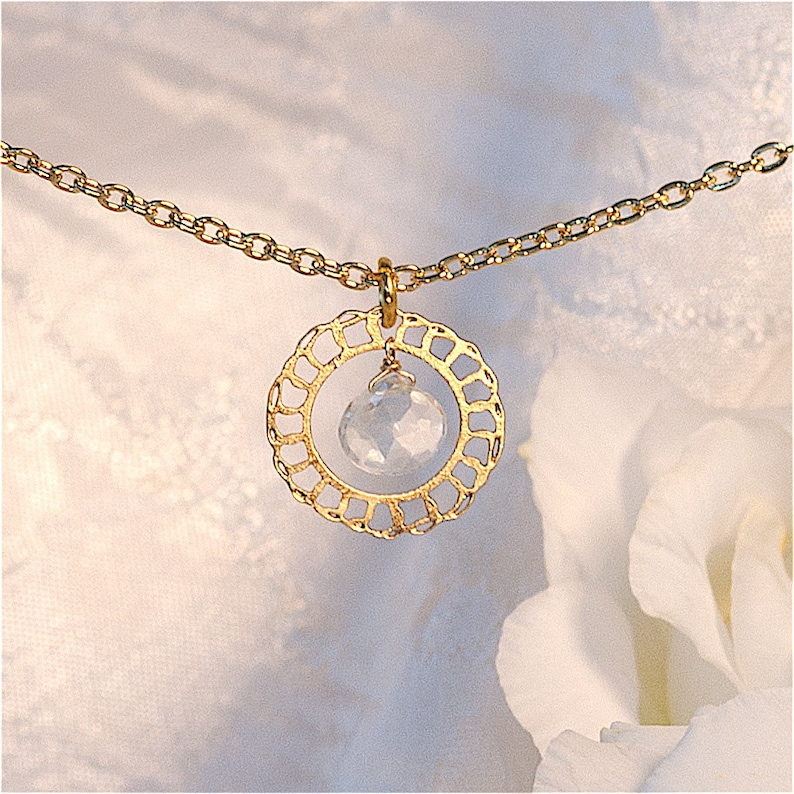 Lacy Gold Minimal necklace with Aquamarine Delicate necklace image 0