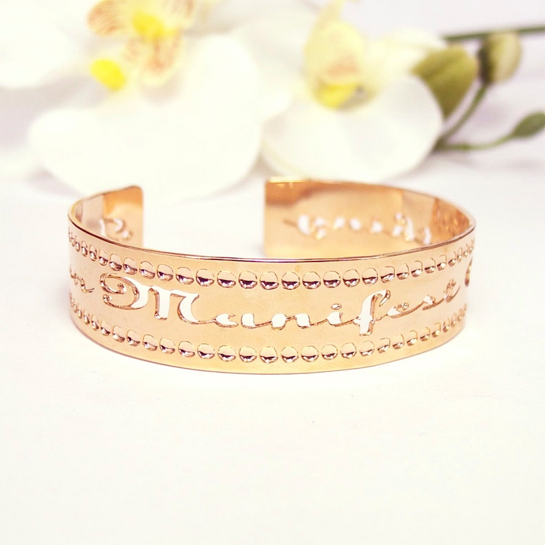 Rose Gold cuff I can manifest anything Affirmation image 0