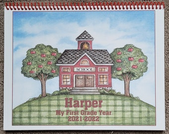 School Year Calendar and Journal ~ 12 Months for boy or girl