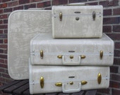 Creamy Marble Delight 4 pc Samsonite luggage-Vint and Mint with Key-RESERVED FOR LILYBEN