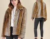 90s LEOPARD PRINT faux fur jacket animal cheetah print fuzzy coat 1990s