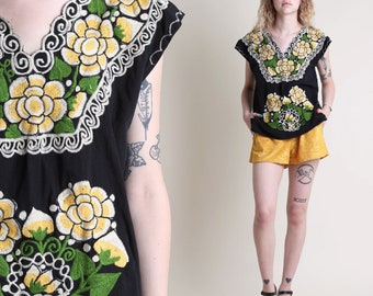 vintage 70s HEAVILY EMBROIDERED floral shirt size XS S / yellow mexican peasant hippie boho shirt top