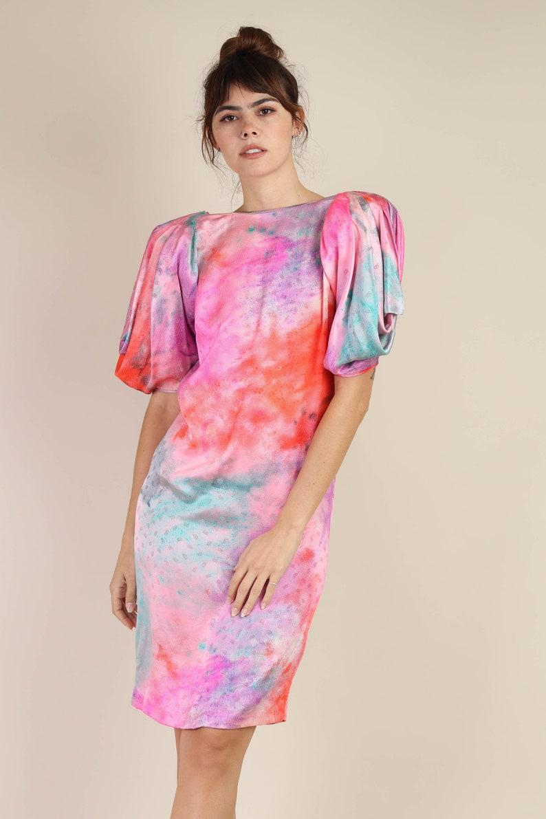 80s EMANUEL UNGARO silk dress XS  cocoon draped avant garde puff sleeve pink rainbow galaxy print capriccio party  1980s  extra small