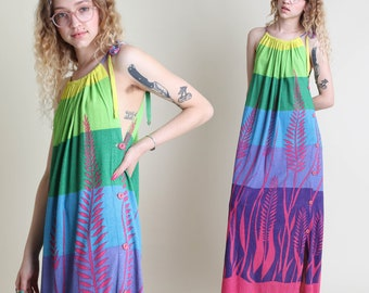 vintage 70s 80s RAINBOW STRIPED tropical terry cloth dress size XS S / hawaiian border novelty print sun maxi dress small 1970s 1980s