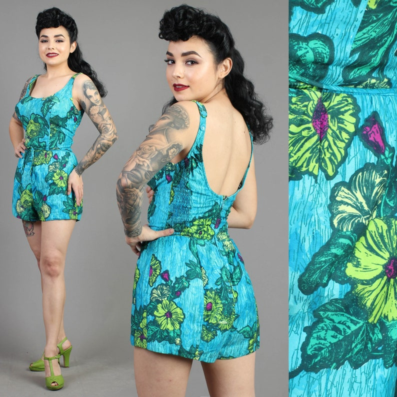 b6a15112e5 Vintage 70s does 50s ROSE MARIE REID floral tropical swimsuit | Etsy