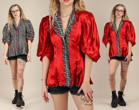 40s STATEMENT SLEEVE jacket XS S / reversible red