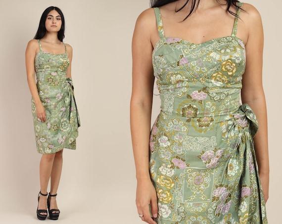 50s TIKI + SARONG dress XS / seafoam green cotton