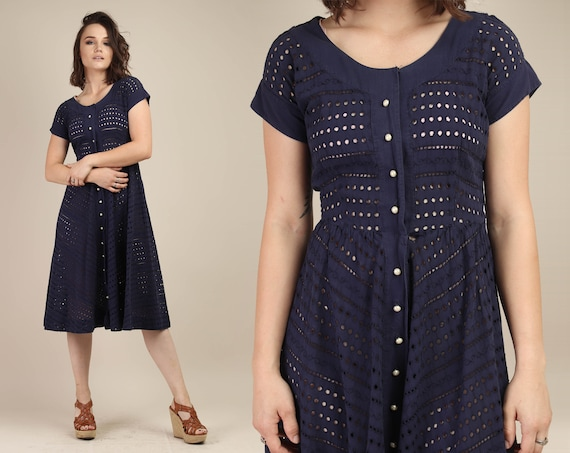 60s EYELET LACE dress S / bobbie brooks dress midn