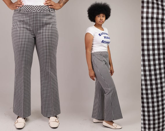 polyester navy and white houndstooth pants. Vintage