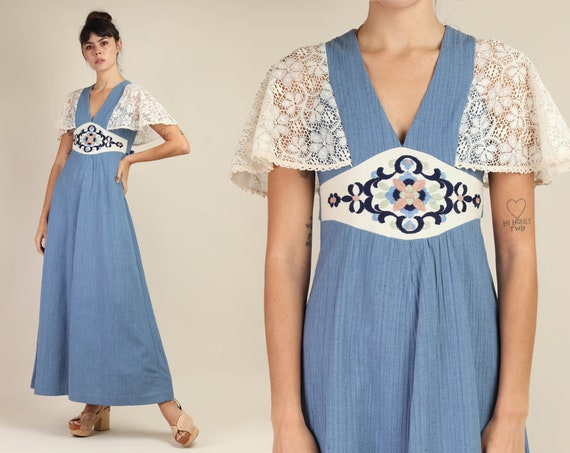 70s FLUTTER SLEEVE dress XS S / blue gauze maxi dr