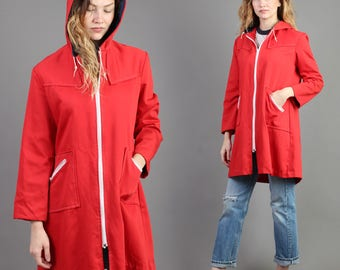 vintage 70s RED + HOODED zip up ZIPPER pocket jacket coat size medium large M L / stranger things trench 1970s 80s 1980s