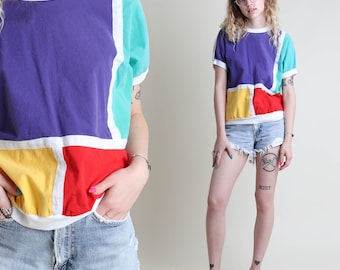 vintage 80s COLOR BLOCK striped RAINBOW shirt / dolman knit shirt blouse top 1980s 1990s 90s