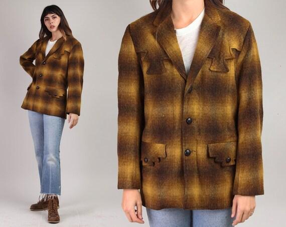 60s TREGO'S WESTWEAR plaid jacket S M / country we