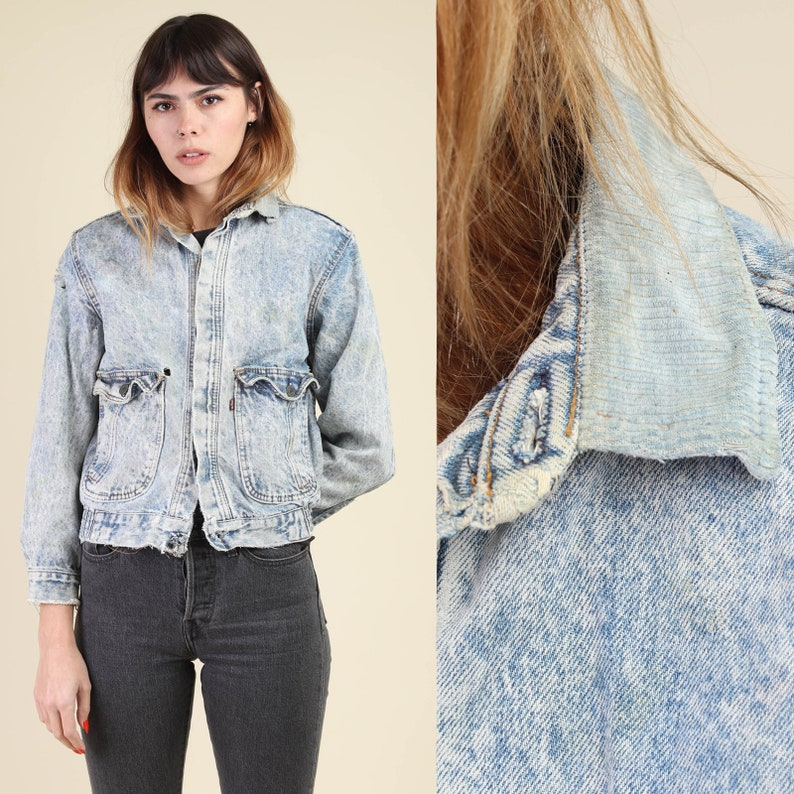 f50964ed07fe 80s LEVI S acid wash jacket   corduroy collar made in the