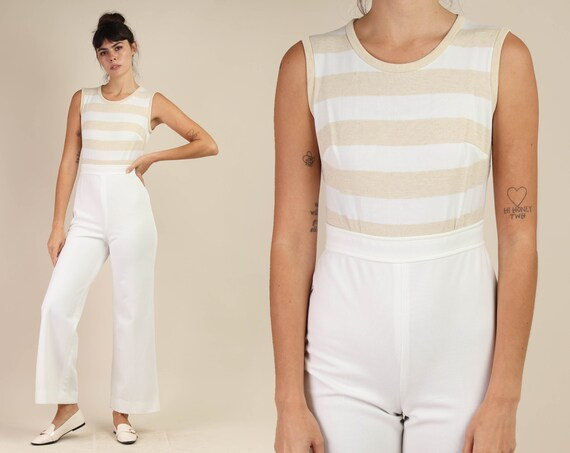 70s MUTED STRIPED jumpsuit S M / bell bottom jumps