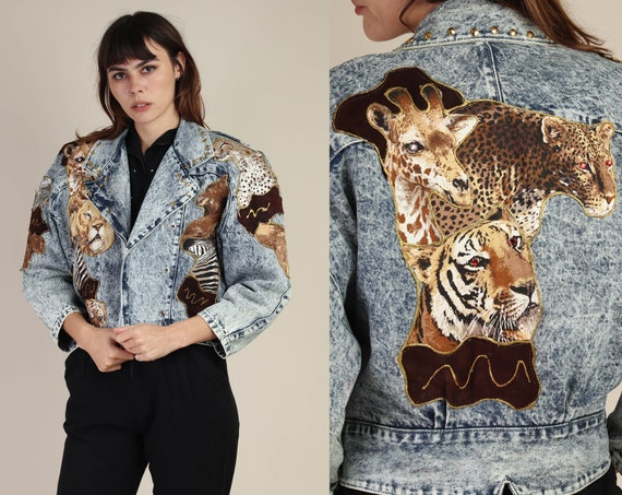 80s ANIMAL KINGDOM jacket / tiger print jacket leo