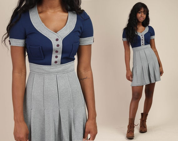 70s TWO TONE dress XS / mod mini dress accent pock