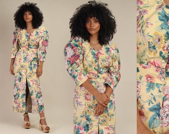 80s ROMANTIC FLORAL dress S / statement sleeve dre