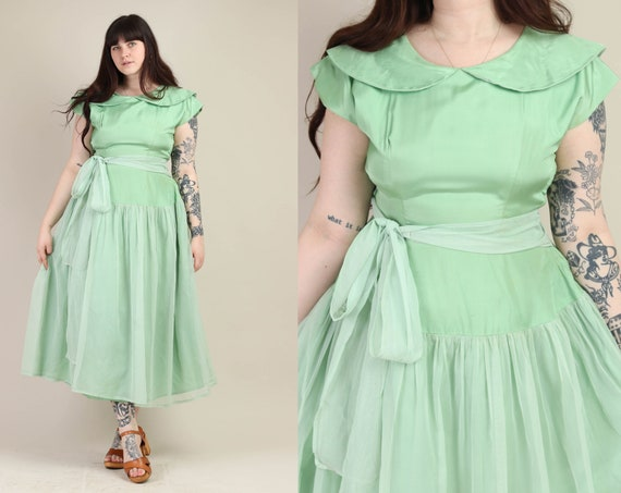 50s MINT GREEN dress XL / chiffon dress peter pan